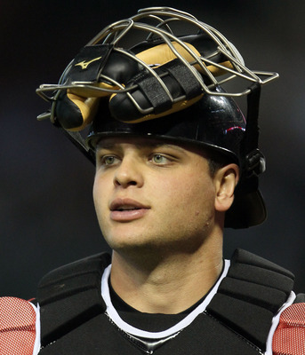 PHOENIX, AZ - JULY 10:  U.S. Futures All-Star Devin Mesoraco #36 of the Cincinnati Reds looks on during the 2011 XM All-Star Futures Game at Chase Field on July 10, 2011 in Phoenix, Arizona.  (Photo by Jeff Gross/Getty Images)