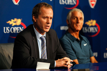 NEW YORK - SEPTEMBER 06:  (L-R) Patrick McEnroe and Jose Higueras speak at a press conference during day eight of the 2010 U.S. Open at the USTA Billie Jean King National Tennis Center on September 6, 2010 in the Flushing neighborhood of the Queens boroug