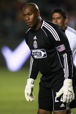 CARSON, CA - AUGUST 29:  Goalkeeper Zach Thornton #22 of Chivas USA looks on against D.C. United during the MLS match on August 29, 2010 at the Home Depot Center in Carson, California. Chivas USA defeated D.C. United 1-0.  (Photo by Jeff Golden/Getty Imag