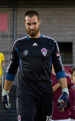 COMMERCE CITY, CO - AUGUST 5: Matt Pickens #18 of the Colorado Rapids leads his team onto the pitch before a game against the Columbus Crew at Dick's Sporting Goods Park on August 5, 2011 in Commerce City, Colorado. (Photo by Justin Edmonds/Getty Images)