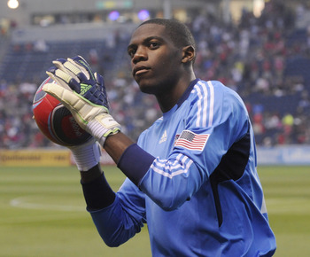 BRIDGEVIEW, IL - AUGUST 27: Sean Johnson #25 of the Chicago Fire throws a soccer ball to a fan before the game against the Colorado Rapids in an MLS match on August 27, 2011 at Toyota Park in Bridgeview, Illinois.The Fire defeated the Rapids 2-0.  (Photo