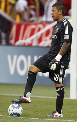 SANDY, UT - JULY 30: Goalie Nick Rimando #18 of Real Salt Lake places the ball down during a game against Columbus Crew during the first half of an MLS soccer game July 30, 2011 at Rio Tinto Stadium in Sandy, Utah. (Photo by George Frey/Getty Images)