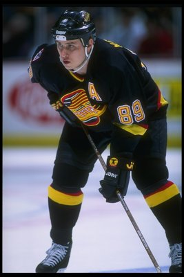 8 Apr 1996:  Rightwinger Alexander Mogilny of the Vancouver Canucks moves down the ice during a game against the Anaheim Mighty Ducks at Arrowhead Pond in Anaheim, California.  The Ducks won the game, 2-0. Mandatory Credit: Jamie Squire  /Allsport