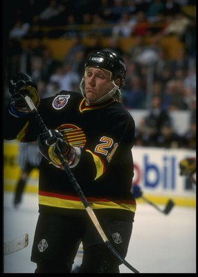 14 Feb 1993:  Defenseman Jyrki Lumme of the Vancouver Canucks looks on during a game against the Buffalo Sabres at Memorial Auditorium in Buffalo, New York. Mandatory Credit: Rick Stewart  /Allsport