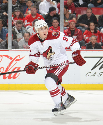 DETROIT, MI- APRIL 13:  Kyle Turris #91 of the Phoenix Coyotes skates against the Detroit Red Wings in Game One of the Western Conference Quarterfinals during the 2011 NHL Stanley Cup Playoffs at Joe Louis Arena on April 13, 2011 in Detroit, Michigan.(Pho