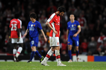 LONDON, ENGLAND - MAY 05:  Cesc Fabregas of Arsenal looks towards the ground during the UEFA Champions League Semi Final Second Leg match between Arsenal and Manchester United at Emirates Stadium on May 5, 2009 in London, England.  (Photo by Shaun Botteri
