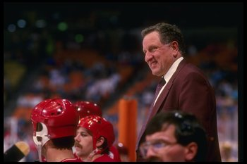 1986-87:  Calgary Flames coach Bob Johnson during a Flames game versus the Los Angeles Kings at the Forum in Inglewood, California. Mandatory Credit: Rick Stewart/Allsport