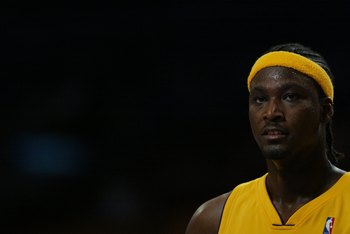 LOS ANGELES - DECEMBER 6:  Kwame Brown #54 of the Los Angeles Lakers looks on during a freethrow against the New Orleans/Oklahoma City Hornets on December 6, 2006 at Staples Center in Los Angeles, California. NOTE TO USER: User expressly acknowledges and