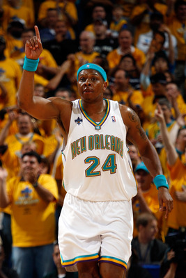 NEW ORLEANS - MAY 03: Bonzi Wells #24 of the New Orleans Hornets celebrates during the game against the San Antonio Spurs in Game One of the Western Conference Semifinals during the 2008 NBA Playoffs at The New Orleans Arena on May 3, 2008 in New Orleans,