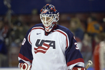 18 Feb 2002:  Goalie Tom Barrasso #30 of the USA in action against Belarus during the Salt Lake City Winter Olympic Games at the E Center in Salt Lake City, Utah. DIGITAL IMAGE. Mandatory Credit:  Brian Bahr/Getty Images