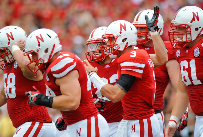 LINCOLN, NE - SEPTEMBER 03: The Nebraska Cornhusker offense celebrate their first touchdown of the day during their game against the Chattanooga Mocs at Memorial Stadium September 3, 2011in Lincoln, Nebraska. Nebraska won 40-7. (Photo by Eric Francis/Gett