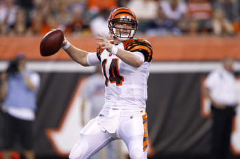 CINCINNATI, OH - AUGUST 25: Andy Dalton #14 of the Cincinnati Bengals looks to pass in the first half of an NFL preseason game against the Carolina Panthers at Paul Brown Stadium on August 25, 2011 in Cincinnati, Ohio. (Photo by Joe Robbins/Getty Images)