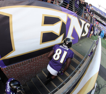 BALTIMORE, MD - AUGUST 19:  Anquan Boldin #81 the Baltimore Ravens takes the field during warm ups prior to the start of a preseason game against the Kansas City Chiefs at M&T Bank Stadium on August 19, 2011 in Baltimore, Maryland.  (Photo by Rob Carr/Get