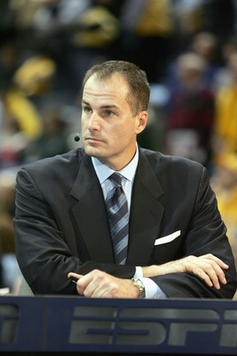 MILWAUKEE - MARCH 3: ESPN college basketball analyst Jay Bilas gives life commentary before the game between the Marquette Golden Eagles and the Pittsburgh Panthers on March 3, 2007 at the Bradley Center in Milwaukee, Wisconsin. (Photo by Jonathan Daniel/