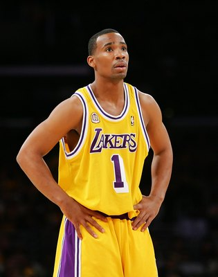 LOS ANGELES, CA - DECEMBER 30:   Javaris Crittenton #1 of the Los Angeles Lakers looks on during the game against the Boston Celtics at Staples Center on December 30, 2007 in Los Angeles, California.  NOTE TO USER: User expressly acknowledges and agrees t