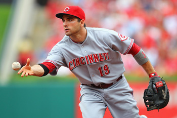 ST. LOUIS, MO -SEPTEMBER 4: Joey Votto #19 of the Cincinnati Reds tosses the ball to first base at Busch Stadium on September 4, 2011 in St. Louis, Missouri.  (Photo by Dilip Vishwanat/Getty Images)