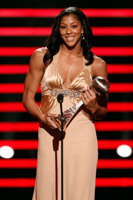 LOS ANGELES, CA - JULY 16:  WNBA player Candace Parker accepts the award for best female athlete onstage at the 2008 ESPY Awards held at NOKIA Theatre L.A. LIVE on July 16, 2008 in Los Angeles, California.  The 2008 ESPYs will air on Sunday, July 20 at 9P