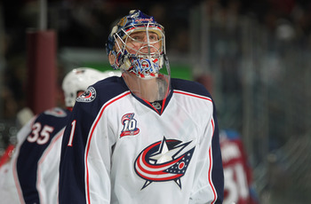 DENVER, CO - MARCH 22:  Goalie Steve Mason #1 of the Columbus Blue Jackets looks on during a break in the action against the Colorado Avalanche at the Pepsi Center on March 22, 2011 in Denver, Colorado. Mason collect the loss as the Avalanche defeated the