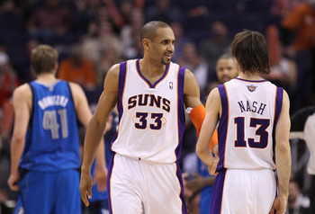 PHOENIX, AZ - FEBRUARY 17:  Grant Hill #33 and Steve Nash #13 of the Phoenix Suns during the NBA game against the Dallas Mavericks at US Airways Center on February 17, 2011 in Phoenix, Arizona.  The Mavericks defeated the Suns 112-106.  NOTE TO USER: User