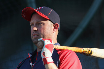 ANAHEIM, CA - SEPTEMBER 03:  Michael Cuddyer #5 of the Minnesota Twins looks on prior to the start of the game against the Los Angeles Angels of Anaheim at Angel Stadium of Anaheim on September 3, 2011 in Anaheim, California.  (Photo by Jeff Gross/Getty I
