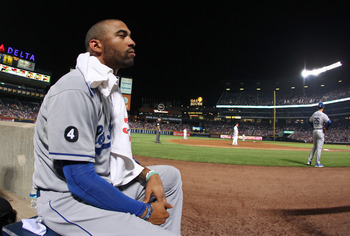 ATLANTA - SEPTEMBER 3: Matt Kemp #27 of the Los Angeles Dodgers watches the action against the Atlanta Braves on September 3, 2011 at Turner Field in Atlanta, Georgia. The Dodgers beat the Braves 2-1. (Photo by Joe Murphy/Getty Images)