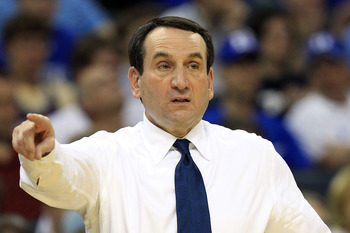 CHARLOTTE, NC - MARCH 20:  Head coach Mike Krzyzewski of the Duke Blue Devils reacts while taking on the Michigan Wolverines during the third round of the 2011 NCAA men's basketball tournament at Time Warner Cable Arena on March 20, 2011 in Charlotte, Nor