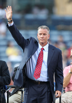 ATLANTA, GA - AUGUST 12:  Former Atlanta Braves pitcher Tom Glavine acknowledges the crowd during the Bobby Cox number retirement ceremony before the game between the Atlanta Braves and the Chicago Cubs at Turner Field on August 12, 2011 in Atlanta, Georg