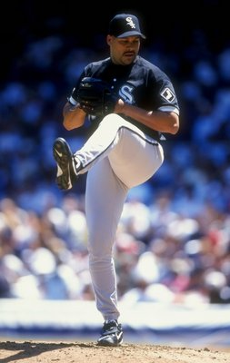 26 Jul 1998:  Pitcher Jaime Navarro #38 of the Chicago White Sox in action during a game against the New York Yankees at the Yankee Stadium in the Bronx, New York. The Yankees defeated the White Sox 6-3. Mandatory Credit: David Seelig  /Allsport