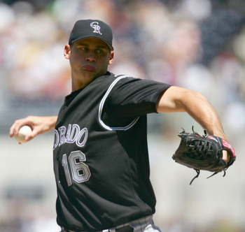 SAN DIEGO, CA - AUGUST 28: Starting Pitcher Jamey Wright #16 of Colorado Rockies winds back to pitch during the game against the San Diego Padres on August 28, 2005 at Petco Park in San Diego, California. The Padres won 4-3. (Photo by Donald Miralle/Getty