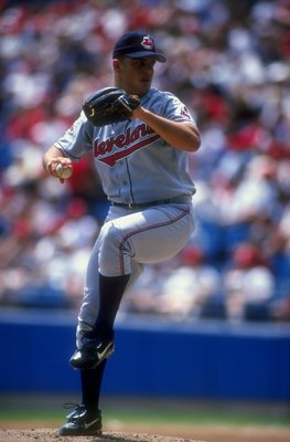 18 Jul 1998:  Pitcher Jaret Wright #27 of the Cleveland Indians in action during a game against the Chicago White Sox at the Comiskey Park in Chicago, Illinois. The Indians defeated the White Sox 15-9. Mandatory Credit: Matthew Stockman  /Allsport