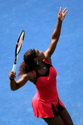NEW YORK, NY - SEPTEMBER 01:  Serena Williams of the United States serves against Michaella Krajicek of the Netherlands during Day Four of the 2011 US Open at the USTA Billie Jean King National Tennis Center on September 1, 2011 in the Flushing neighborho