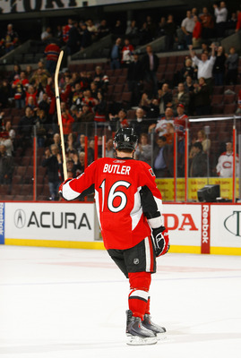 OTTAWA, CANADA - APRIL 07:  Bobby Butler #16 of the Ottawa Senators acknowledges the crowd after being selected the games second star in a match against the Montreal Canadiens at Scotiabank Place on April 7, 2011 in Ottawa, Canada.  (Photo by Phillip MacC