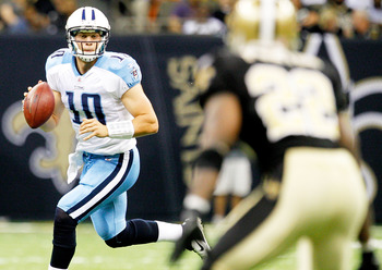 NEW ORLEANS, LA - SEPTEMBER 01: Jake Locker #10 of the Tennessee Titans drops back to pass against the New Orleans Saints during their pre season game at Louisiana Superdome on September 1, 2011 in New Orleans, Louisiana (Photo by Sean Gardner/ Getty Imag
