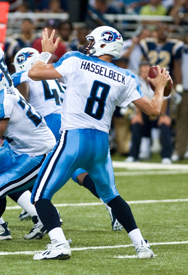 ST.LOUIS, MO - AUGUST 20: Matt Hasselbeck #8 of the Tennessee Titans passes against the St. Louis Rams during a pre-season game at the Edward Jones Dome on August 20, 2011 in St.Louis, Missouri.  (Photo by Ed Szczepanski/Getty Images)