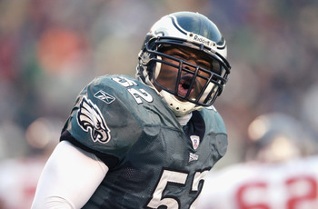 PHILADELPHIA - JANUARY 19:  Linebacker Barry Gardner #52 of the Philadelphia Eagles reacts after making a tackle against the Tampa Bay Buccaneers in the NFC Championship game at Veterans Stadium on January 19, 2003 in Philadelphia, Pennsylvania. The Bucca