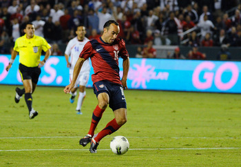 CARSON, CA - SEPTEMBER 02:  Landon Donovan #10 of the United States takes a shot on goal against  Costa Rica during the friendly soccer match at The Home Depot Center on September 2, 2011 in Carson, California.  (Photo by Kevork Djansezian/Getty Images)