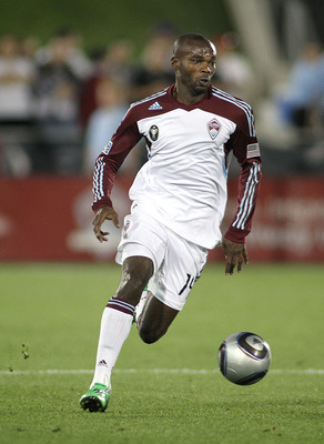 COMMERCE CITY, CO - AUGUST 20: Omar Cummings #14 of the Colorado Rapids pushes the ball upfield against Chivas USA during their game at Dick's Sporting Goods Park August 20, 2011 in Commerce City, Colorado. The game ended in a 2-2 draw. (Photo by Marc Pis