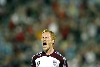 COMMERCE CITY, CO - AUGUST 20: Jeff Larentowicz #4 of the Colorado Rapids celebrates after scoring a goal against Chivas USA during their game at Dick's Sporting Goods Park August 20, 2011 in Commerce City, Colorado. The game ended in a 2-2 draw. (Photo b