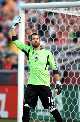 COMMERCE CITY, CO - AUGUST 20: Goalkeeper Matt Pickens #18 of the Colorado Rapids plays against Chivas USA during their game at Dick's Sporting Goods Park August 20, 2011 in Commerce City, Colorado. (Photo by Marc Piscotty/Getty Images)