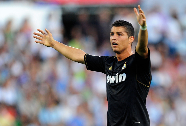 ZARAGOZA, SPAIN - AUGUST 28:  Cristiano Ronaldo of Real Madrid reacts during the La Liga match between Real Zaragoza and Real Madrid at estadio La Romareda on August 28, 2011 in Zaragoza, Spain.  (Photo by Denis Doyle/Getty Images)