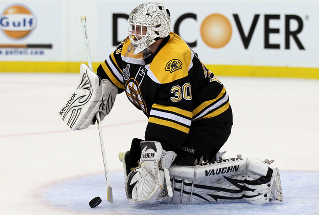 BOSTON, MA - JUNE 13:  Tim Thomas #30 of the Boston Bruins tends goal against the Vancouver Canucks during Game Six of the 2011 NHL Stanley Cup Final at TD Garden on June 13, 2011 in Boston, Massachusetts.  (Photo by Elsa/Getty Images)