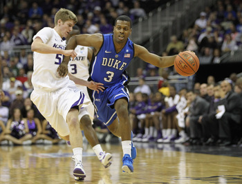 KANSAS CITY, MO - NOVEMBER 23:  Tyler Thornton #3 of the Duke Blue Devils in action during the CBE Classic game against the Kansas State Wildcats on November 23, 2010 at the Sprint Center in Kansas City, Missouri.  (Photo by Jamie Squire/Getty Images)