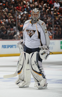 ANAHEIM, CA - APRIL 13:  Goaltender Pekka Rinne  #35 of the Nashville Predators looks on against the Anaheim Ducks in Game One of the Western Conference Quarterfinals during the 2011 NHL Stanley Cup Playoffs at Honda Center on April 13, 2011 in Anaheim, C