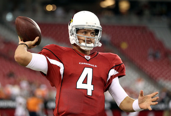GLENDALE, AZ - SEPTEMBER 01:  Quarterback Kevin Kolb #4 of the Arizona Cardinals warms up before the preseason NFL game against the Denver Broncos at the University of Phoenix Stadium on September 1, 2011 in Glendale, Arizona.  (Photo by Christian Peterse