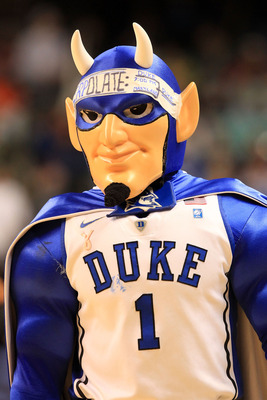 GREENSBORO, NC - MARCH 11:  The mascot for the Duke Blue Devils performs during the first half against the Maryland Terrapins in the quarterfinals of the 2011 ACC men's basketball tournament at the Greensboro Coliseum on March 11, 2011 in Greensboro, Nort