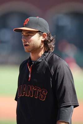 SAN FRANCISCO, CA - SEPTEMBER 03: Brandon Crawford #35 of the San Francisco Giants looks on before the game against the Arizona Diamondbacks at AT&T Park on September 3, 2011 in San Francisco, California.  (Photo by Tony Medina/Getty Images)