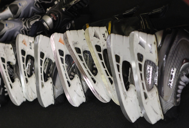 LAKE PLACID, NY - AUGUST 09:  Skates of Team Sweden players await sharpening prior to the game against Team Finland at the Lake Placid Olympic Center on August 9, 2011 in Lake Placid, New York. Team Sweden defeated Team Finland 7-1.  (Photo by Bruce Benne