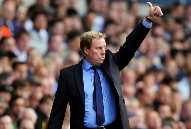 LONDON, ENGLAND - AUGUST 28:  Harry Redknapp manager of Tottenham gestures to his players during the Barclays Premier League match between Tottenham Hotspur and Manchester City at White Hart Lane on August 28, 2011 in London, England.  (Photo by Michael R