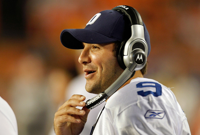 MIAMI GARDENS, FL - SEPTEMBER 01:  Tony Romo #9 of the Dallas Cowboys looks on during a Pre-Season NFL game against the Miami Dolphins at Sun Life Stadium on September 1, 2011 in Miami Gardens, Florida.  (Photo by Mike Ehrmann/Getty Images)