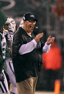 EAST RUTHERFORD, NJ - AUGUST 21:  Rex Ryan, Head Coach of the New York Jets celebrates a field goal against the Cincinnati Bengals during their pre season game on August 21, 2011 at the New Meadowlands Stadium in East Rutherford, New Jersey.  (Photo by Al